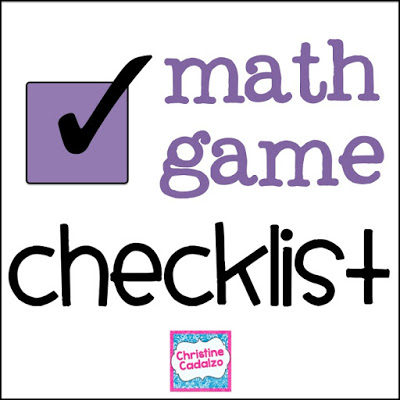 Math Game Checklist